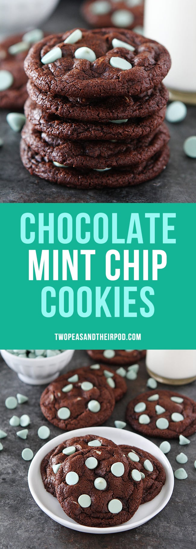 Chocolate Mint Chip Cookies are rich and fudgy chocolate cookies with green mint chocolate chips! Perfect for Christmas or any day! #cookies #Christmas #Christmascookies #mint #chocolatemint
