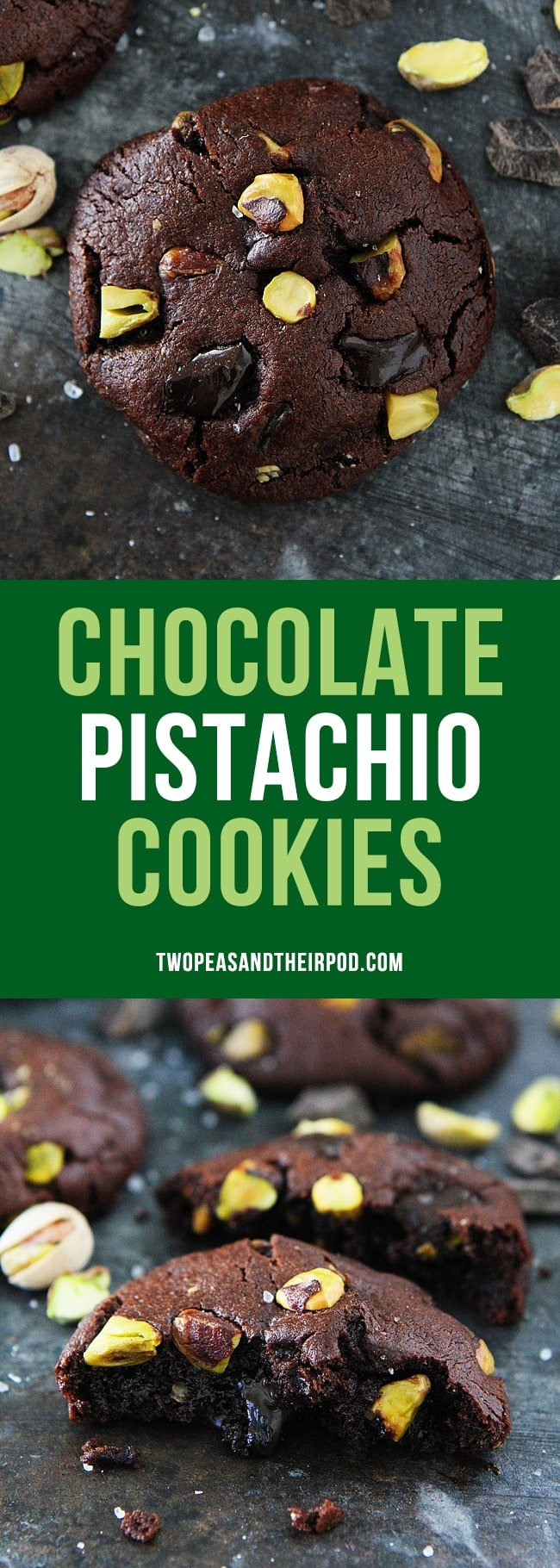 Chocolate Pistachio Cookies-rich chocolate cookies with pistachios, chocolate chunks, and sea salt! #cookies #chocolate #pistachio #Christmascookie