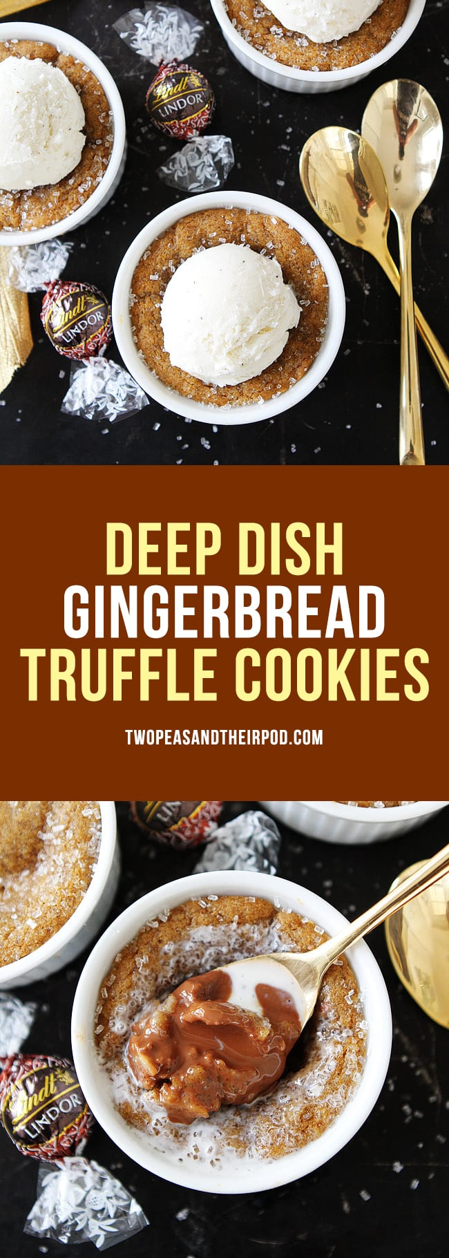 Deep Dish Gingerbread Truffle Cookies are the perfect holiday dessert! #christmas #holidays #gingerbread #truffles #cookies #dessert