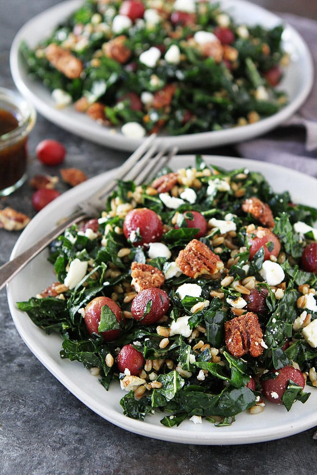 Roasted Grape and Farro Kale Salad with candied pecans, feta cheese, and a simple balsamic dressing is a great salad for lunch or dinner. The flavors are amazing! #salad #kale #kalesalad #vegetarian #farro #grapes