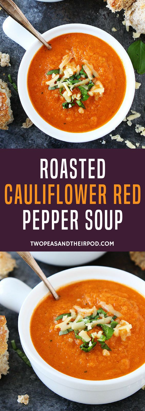 Roasted Cauliflower Red Pepper Soup | Two Peas & Their Pod