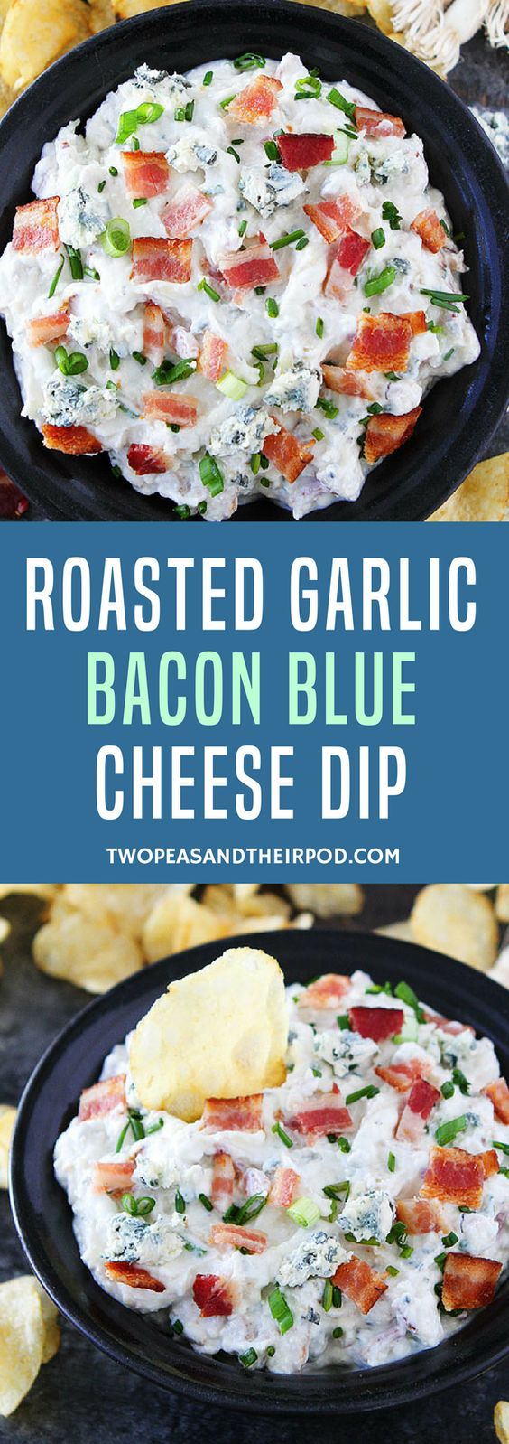 Roasted Garlic Bacon Blue Cheese Dip