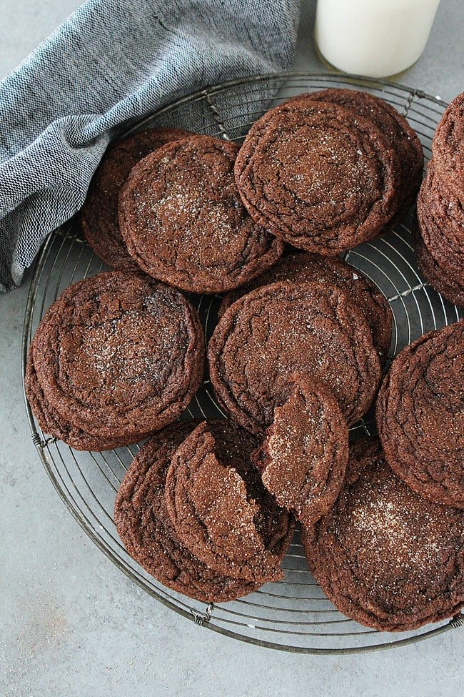 Chocolate Snickerdoodle Cookies on cooling rack