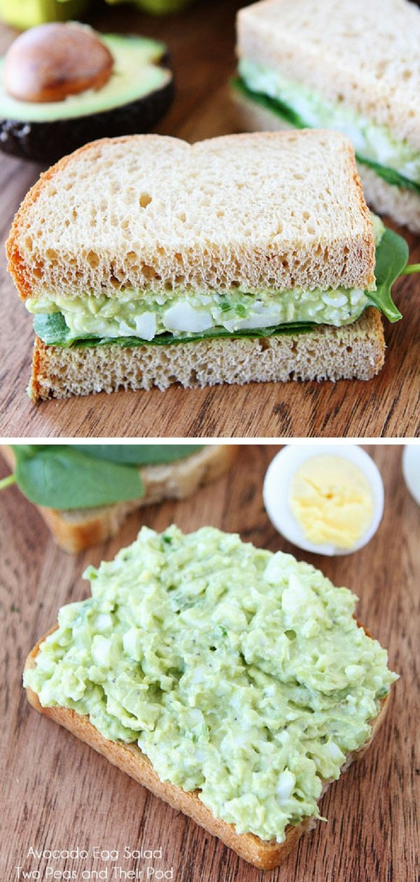Avocado Egg Salad Recipe is the BEST egg salad recipe! #eggsalad #hardboiledeggs #eggs #Easter #vegetarian #glutenfree #avocado #sandwich