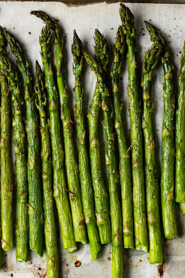 oven roasted asparagus on pan