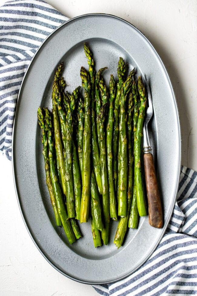 roasted asparagus on platter