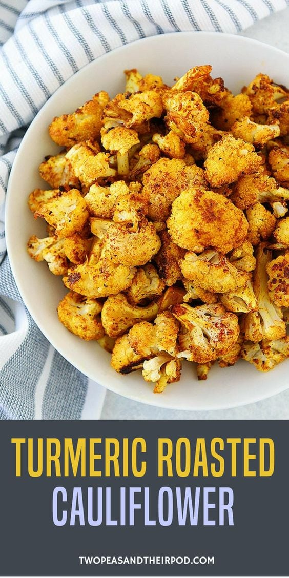 Turmeric Roasted Cauliflower is the perfect healthy side dish to any meal! #cauliflower #glutenfree #vegan #vegetarian #healthyrecipe #easyrecipe