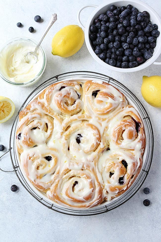 Lemon Blueberry Sweet Rolls with Cream Cheese Frosting