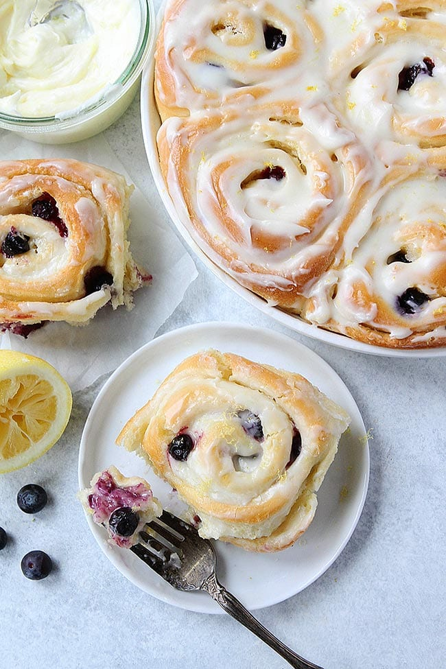 Lemon Blueberry Sweet Roll on plate