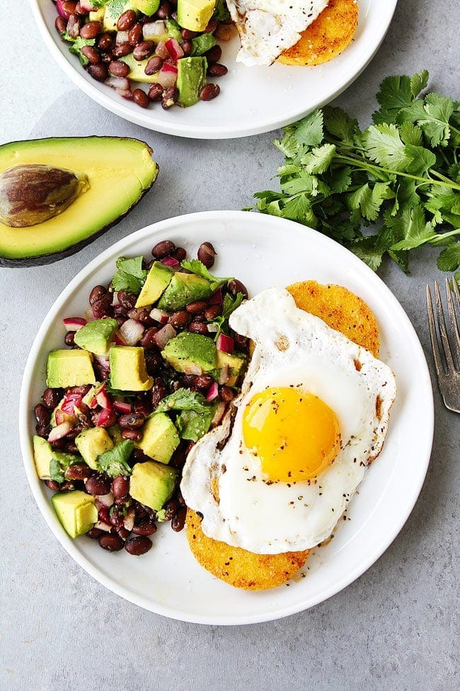 Polenta Rounds with Eggs and Avocado Bean Salsa