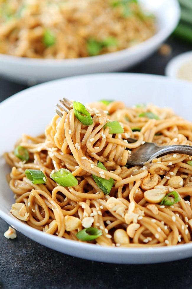 Sesame Noodles Recipe on fork