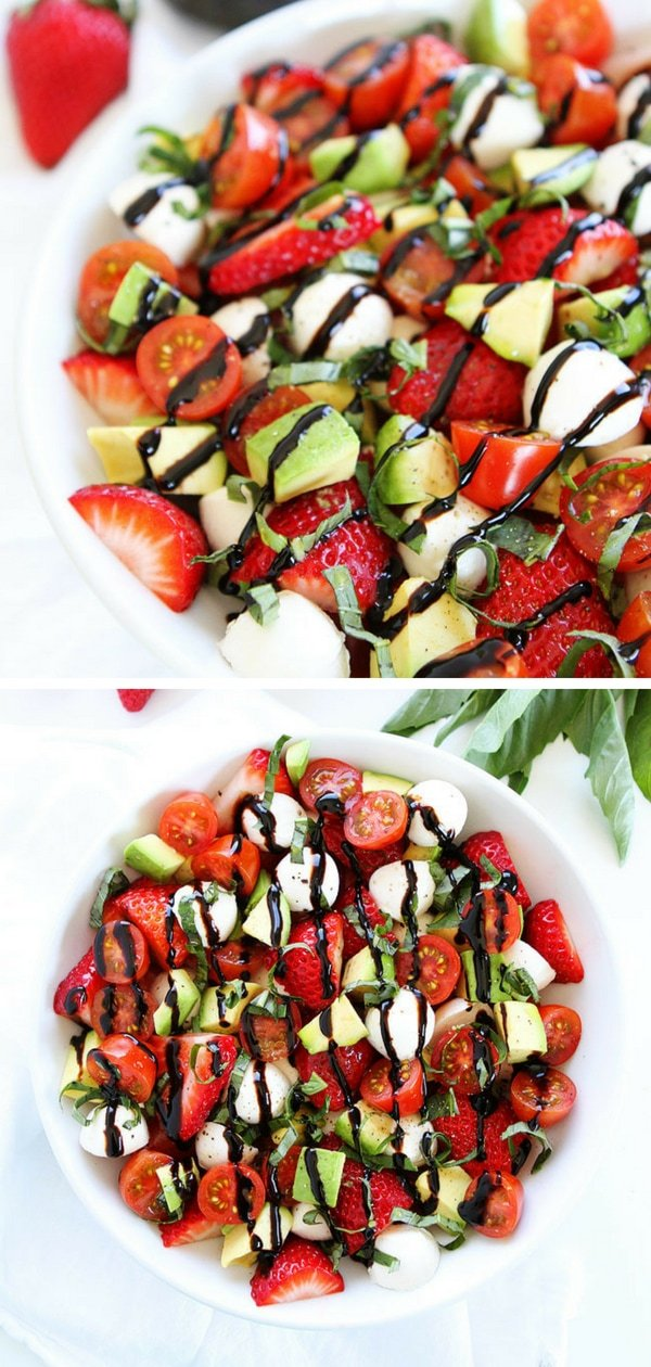 Avocado Strawberry Caprese Salad Recipe on twopeasandtheirpod.com The BEST caprese salad! The avocado and strawberries take this salad to a whole new level! If you're looking for healthy lunches, this is perfect for you!