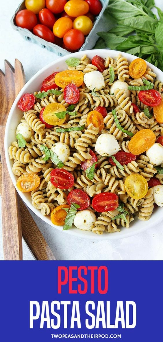 You guys are going to LOVE this Pesto Pasta Salad. It is the perfect summer pasta salad recipe and guess what, you only need FIVE ingredients! During the summer, we are all about easy meals because we are too busy having fun and this salad is super easy and SO delicious! Visit twopeasandtheirpod.com for more simple, fresh, and family friendly meals. #pasta #salad #easyrecipe #pesto #dinner