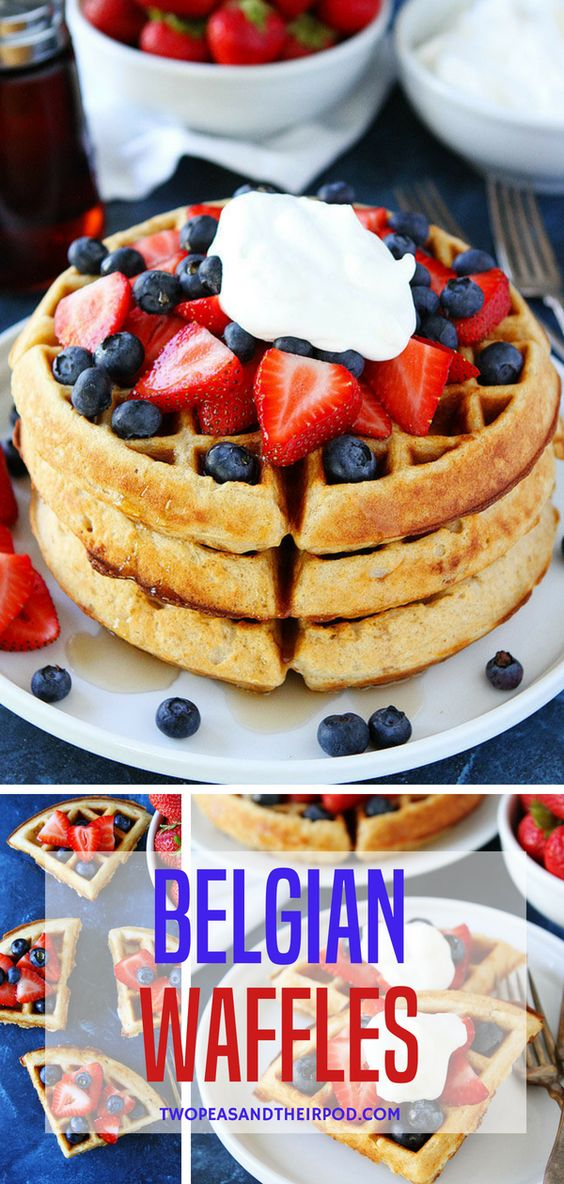 The BEST waffle recipe! Serve with whipped cream, strawberries, and pure maple syrup for a special breakfast treat. The waffles freeze beautifully, so make a double batch! #breakfast #waffles #fromscratch #breakfastrecipes #belgianwaffles Visit twopeasandtheirpod.com for more simple, fresh, and family friendly meals