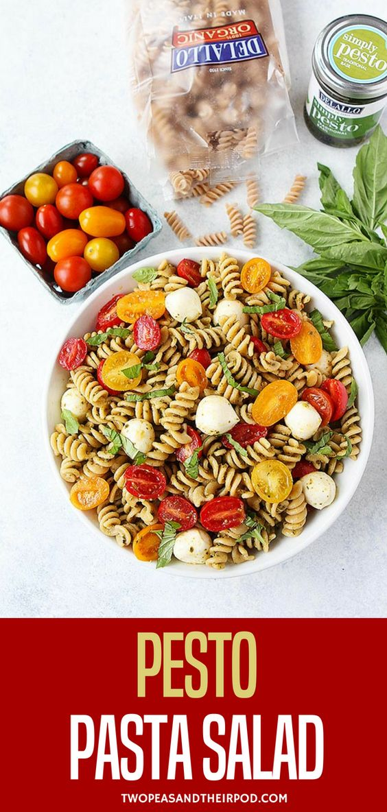 ou Only Need 5 Ingredients To Make This Easy Pesto Pasta Salad! It Is The Perfect Pasta Salad For Summertime! Visit twopeasandtheirpod.com for more simple, fresh, and family friendly meals. #pasta #salad #summer #easyrecipe #pesto #easymeals #dinner