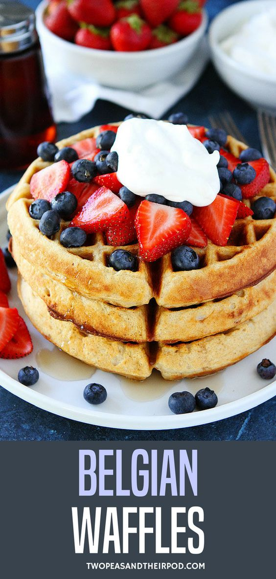 Easy to make homemade Belgian waffle recipe! Top with strawberries, blueberries, and whipped cream for the perfect festive breakfast. Enjoy! #easyrecipe #breakfast #homemade #waffles Visit twopeasandtheirpod.com for more simple, fresh, and family friendly meals.