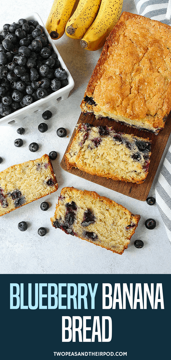 Blueberry Banana Bread-Moist, Sweet Banana Bread Dotted With Juicy Blueberries! Enjoy A Slice For Breakfast, As A Snack, Or Even Dessert! This Banana Bread Recipe Is A Summer Favorite When Blueberries Are In Season! #banana #blueberry #bananabread #quickbread #easyrecipe #baking Visit twopeasandtheirpod.com for more simple, fresh, and family friendly meals.