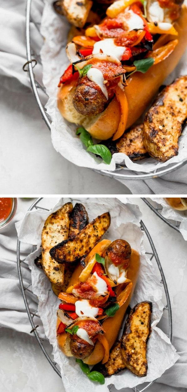 This Italian sausage recipe is a summer favorite! A sandwich with spicy, juicy Italian sausage, grilled peppers and onions, marinara sauce, lots of melty cheese, and fresh basil...made in 30 minutes. What's not to love? Get out your grill and enjoy Italian Sausage and Peppers for dinner tonight! #summer #grilling #grilled #sausage #dinner #easyrecipe #cheese #peppers Visit twopeasandtheirpod.com for more simple, fresh, and family friendly meals.