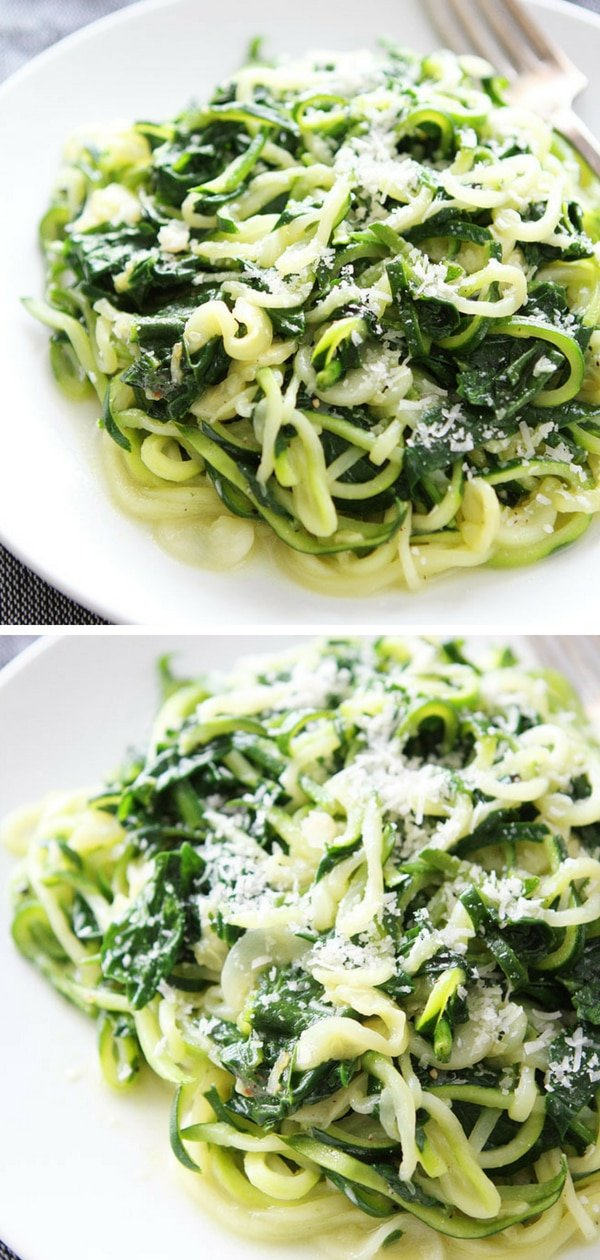 You only need 5 ingredients and 20 minutes to make this healthy zucchini noodle recipe! #zucchini #noodles #healthyeating #healthy #healthyVisit twopeasandtheirpod.com for more simple, fresh, and family friendly meals.