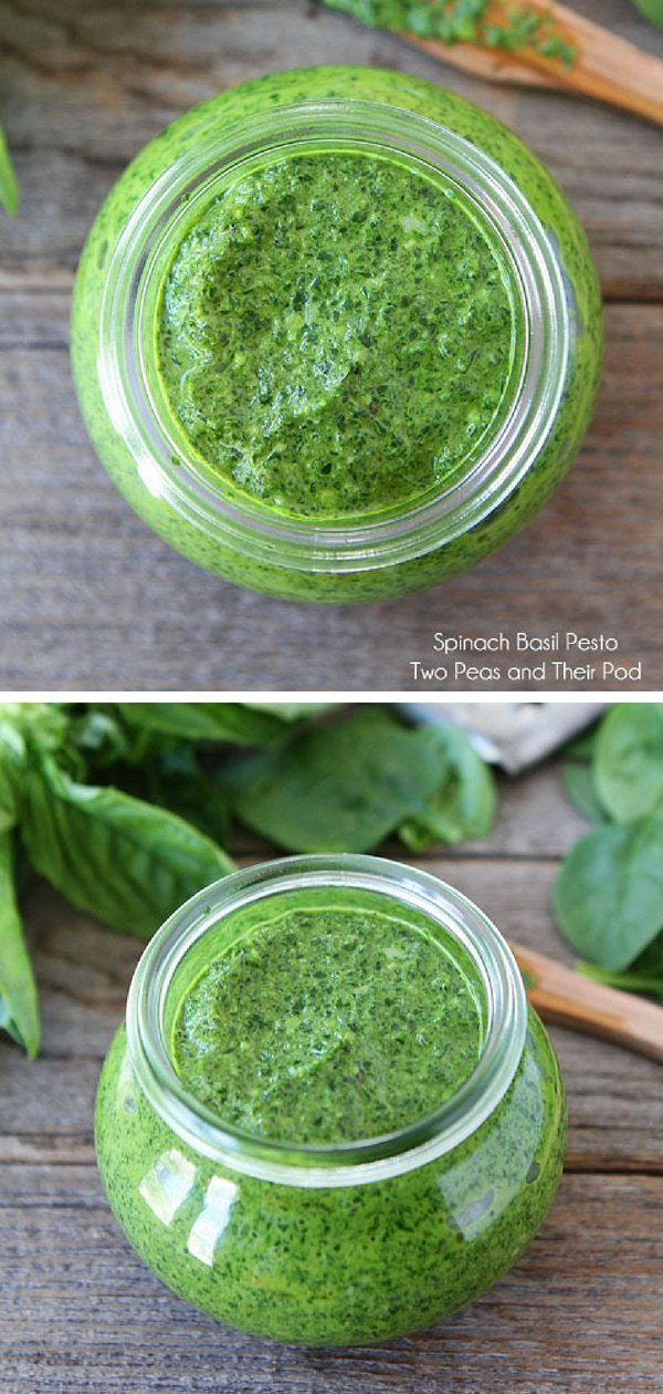 This nut-free spinach basil pesto is bright green and full of flavor! It is great with pasta, veggies, chicken, fish, or as a spread on sandwiches. Visit twopeasandtheirpod.com for more simple, fresh, and family friendly meals. #familyfreshmeals #familyfriendlymeals