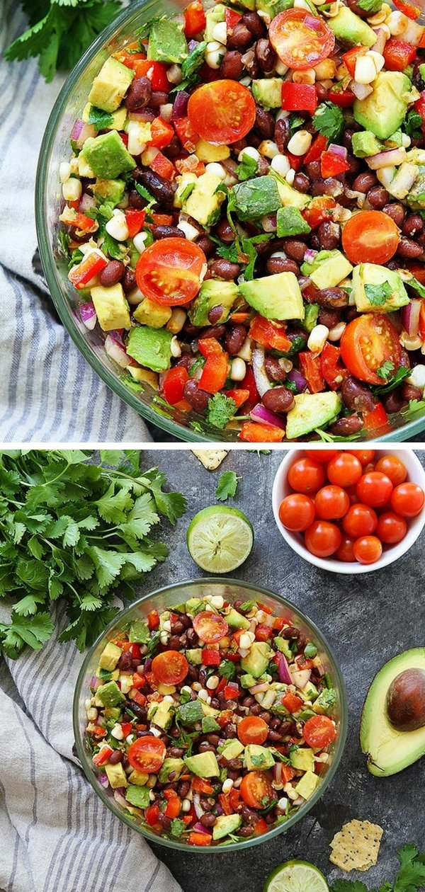 Easy Black Bean Salad with corn, avocado, tomatoes, red pepper, cilantro, and lime. The perfect summer side dish to any meal! You can also serve it as a dip with tortilla chips! isit twopeasandtheirpod.com for more simple, fresh, and family friendly meals. #familyfreshmeals #familyfriendlymeals