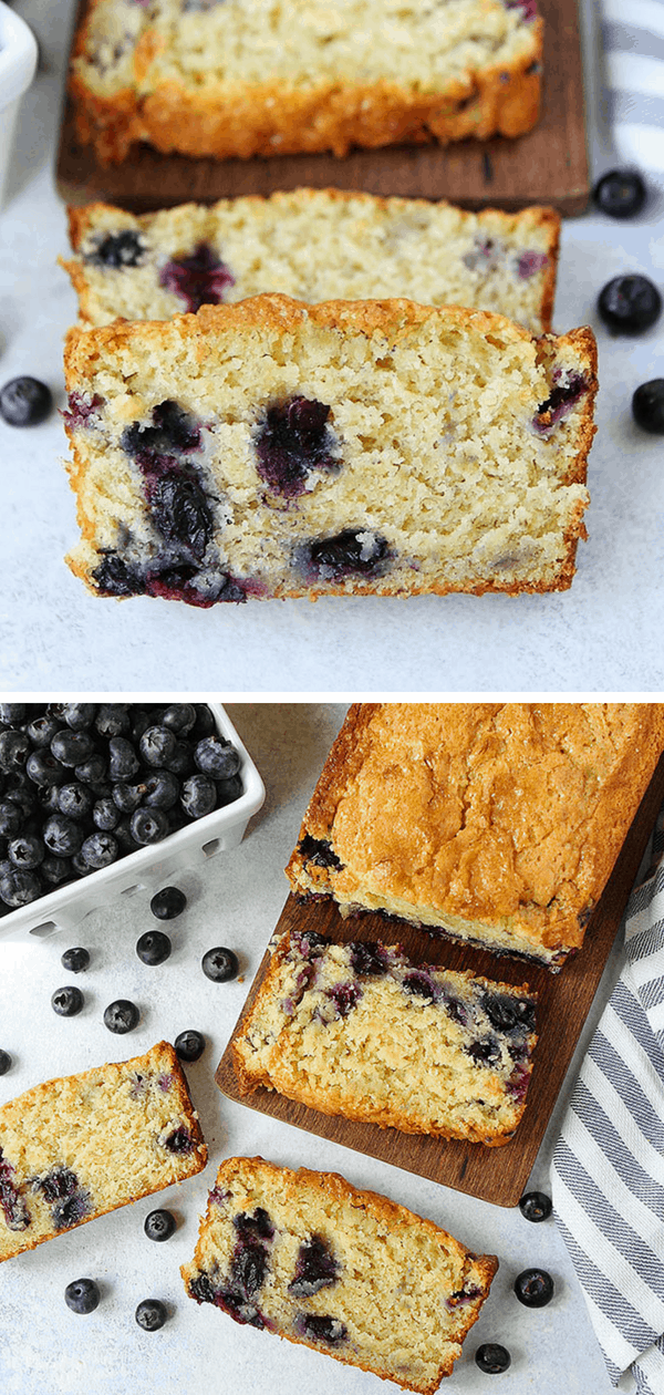 Looking for quick and easy banana bread recipe? This banana bread is moist, sweet and dotted with juicy blueberries! Enjoy a slice for breakfast, as a snack, or even dessert! #banana #blueberry #bananabread #quickbread #easyrecipe #baking Visit twopeasandtheirpod.com for more simple, fresh, and family friendly meals.