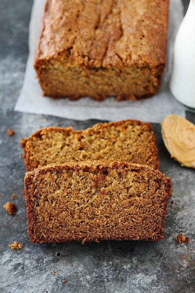 Peanut butter banana bread recipe two peas their pod peanut butter banana bread slice forumfinder Choice Image