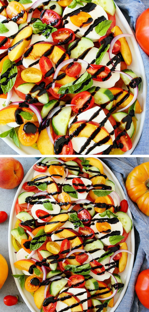 Thesalad colorful and so beautiful! This easy summer salad is a showstopper and goes great with any summer meal. I served this easy Caprese salad at a dinner party and our guests couldn't stop raving about it. It was the talk of the dinner and it only took me 15 minutes to make! SCORE! If you want to impress your friends and family this summer, make this easy and fresh Summer Caprese Salad. Everyone will love it! #salad #healthyeating #healthy #healthyrecipe