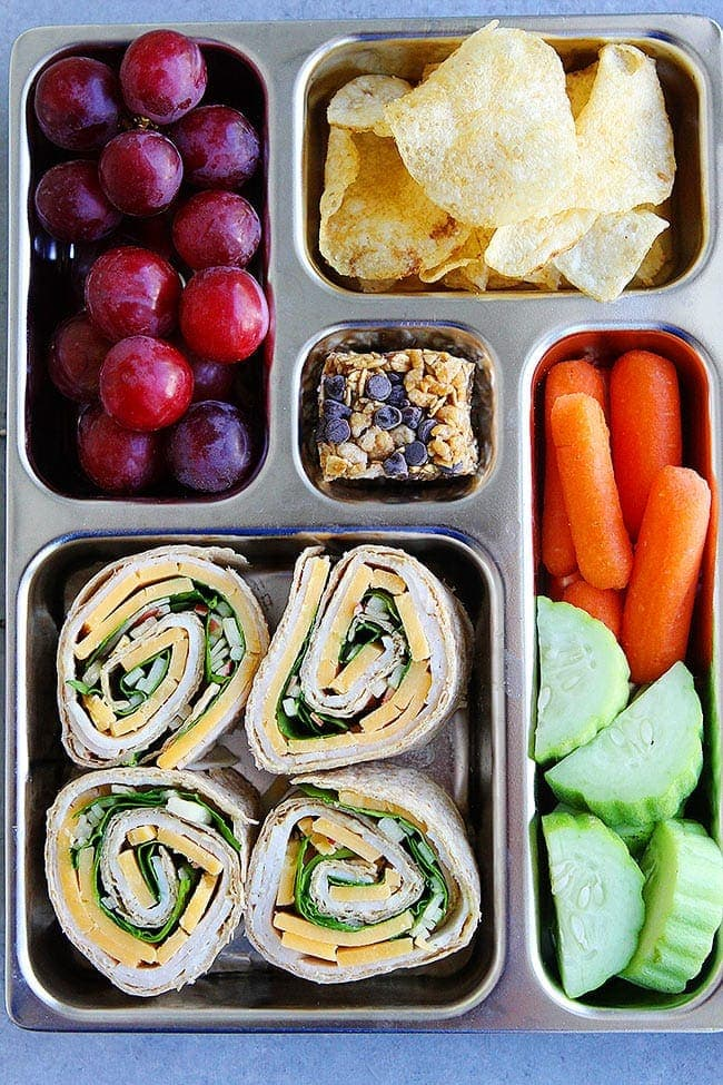 Turkey Pinwheels in lunch box