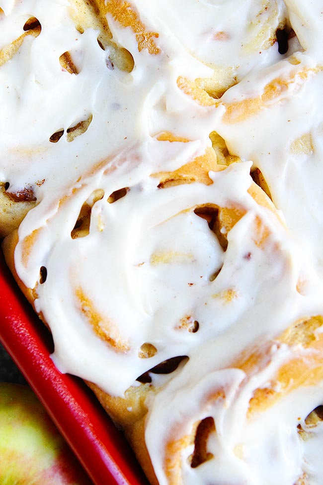 Apple Cinnamon Rolls with frosting in pan