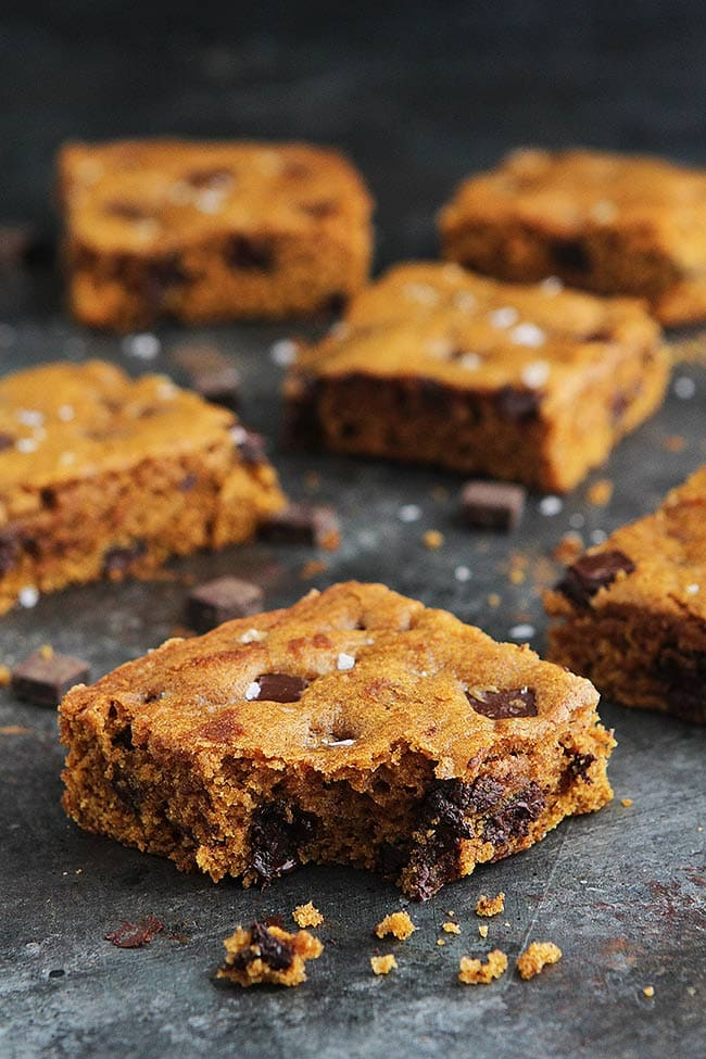 Brown Butter Pumpkin Bars with Chocolate Chunks and Sea Salt