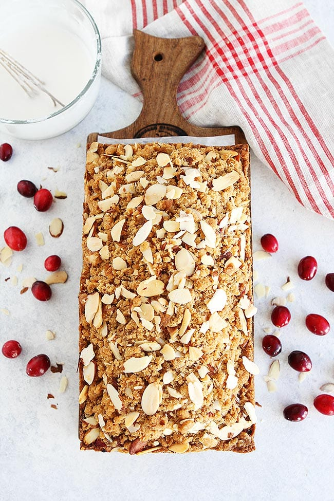 Cranberry Bread with almond streusel