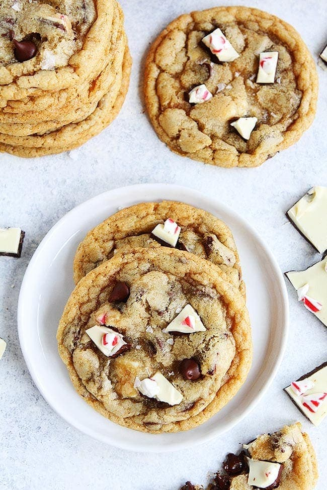 Peppermint Bark Chocolate Chip Cookies