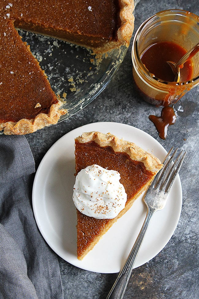 Salted Caramel Pumpkin Pie with whipped cream