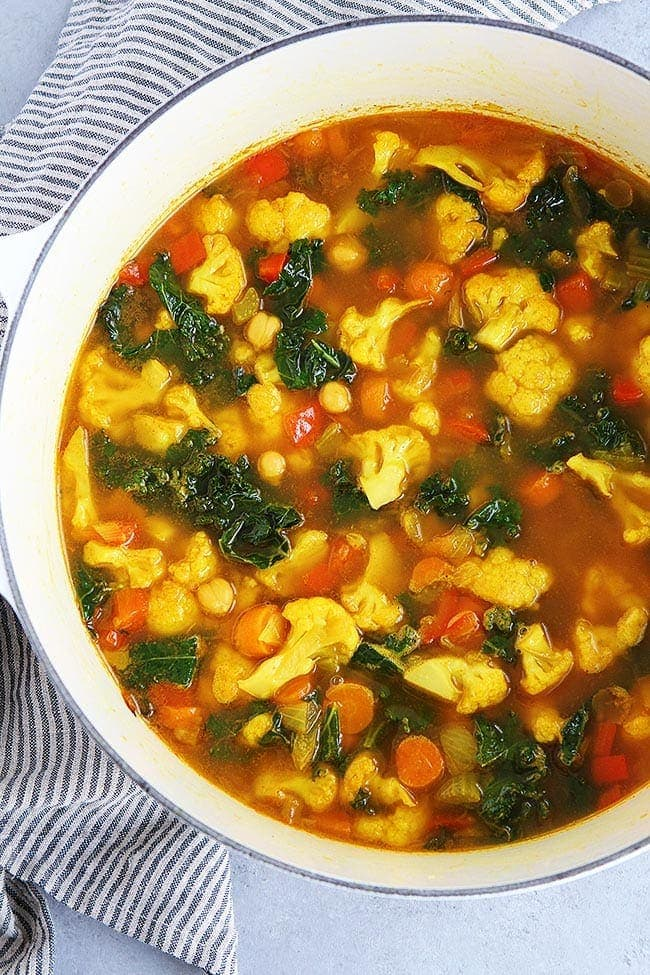 Healthy Turmeric Chickpea Vegetable Soup Recipe
