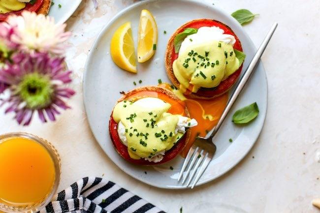 Caprese Eggs Benedict Recipe with Hollandaise Sauce