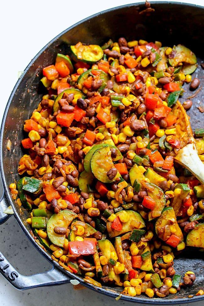 Easy Skillet Vegetarian Enchiladas