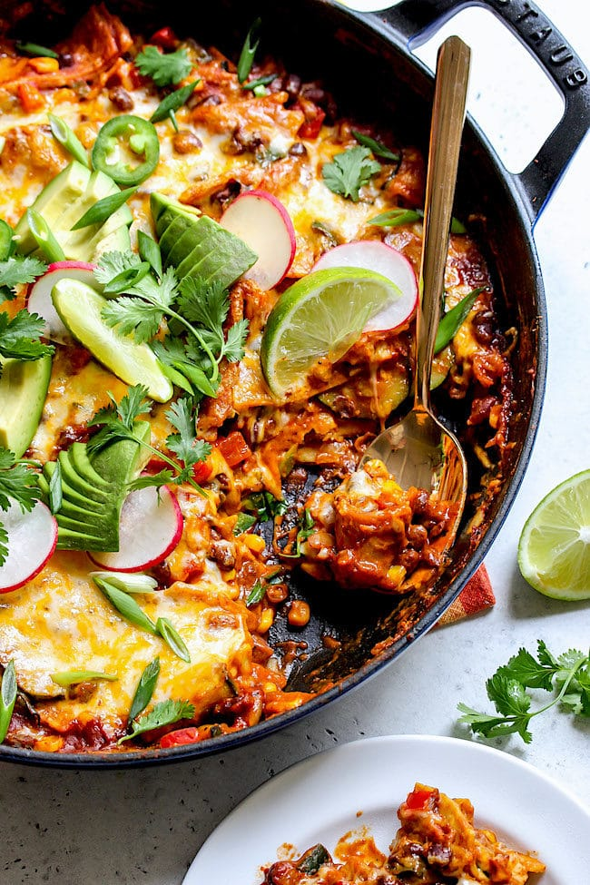 Skillet Vegetarian Enchiladas Recipe