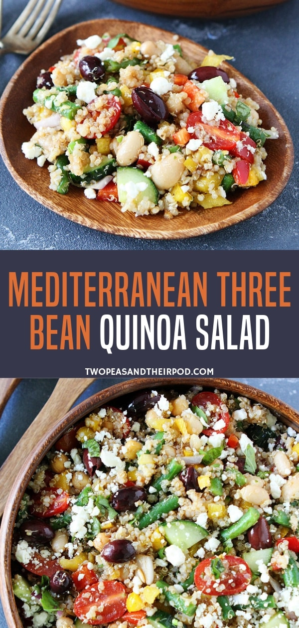 A Mediterranean dish that strongly speaks flavors and richness! Loaded with protein and veggies, this Mediterranean quinoa salad recipe for dinner is perfect as a main dish or side dish. It is so quick and easy ready in just 35 minutes! Save this pin!