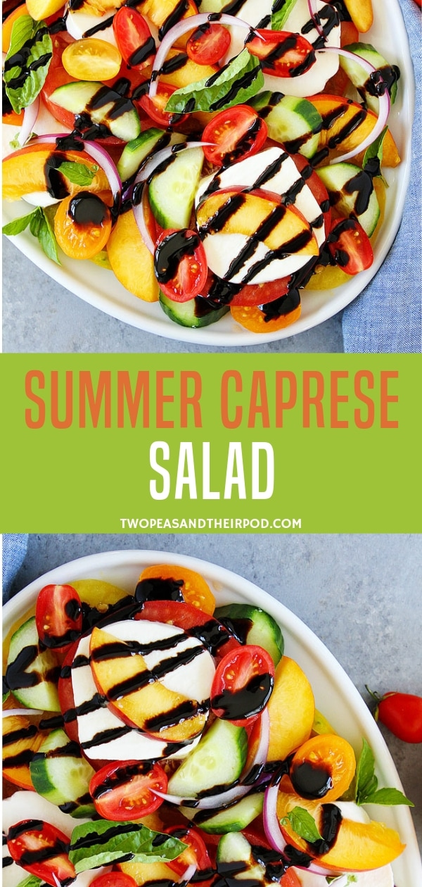 Impress your friends and family with this refreshing summer Caprese salad recipe! It has peaches, cucumber, tomatoes, and balsamic glaze as dressing. It goes great with any other summer meals you love! Check this blog to know how to make this recipe!