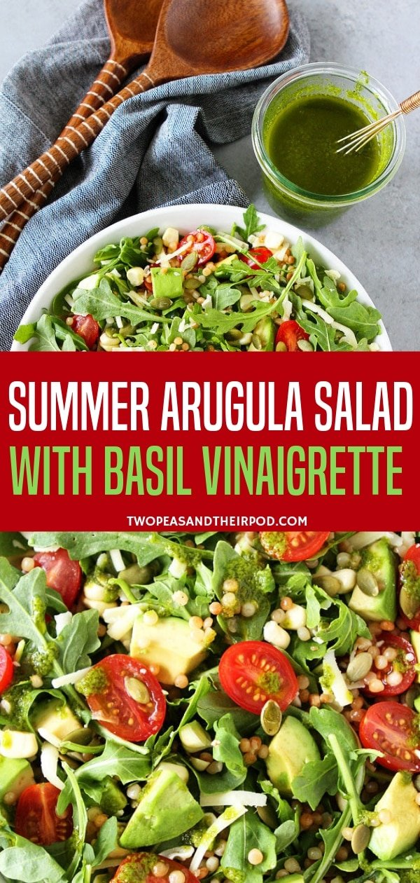 Include this summer recipe with vegetables in your all-time favorite salad meals! The Arugula salad is with couscous, avocado, corn, tomatoes, cheese, pepitas, and simple basil vinaigrette. It is so refreshing and goes great with any other meals!