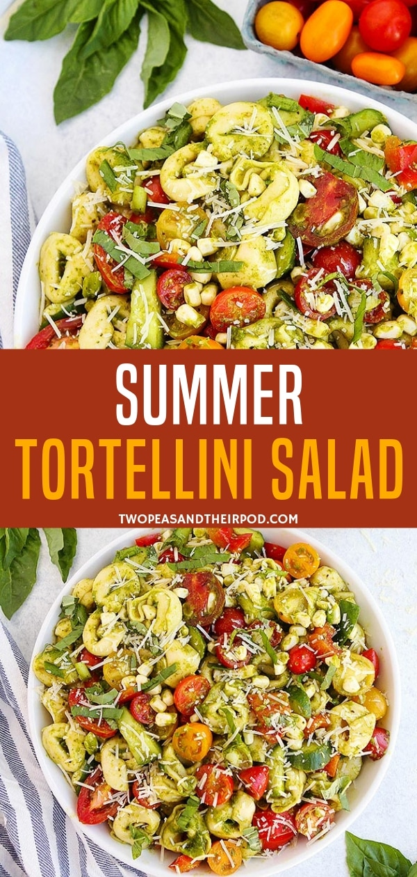 An easy summer tortellini salad perfect for your summer picnics! Ready in 25 minutes, this cold pasta salad is best served with your summer BBQs. Just don't forget the basil vinaigrette dressing! Include this recipe in your summer to do list!