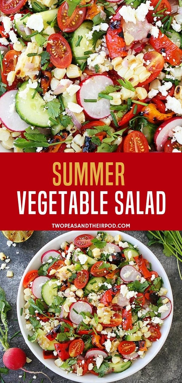 Have a healthy and fit summer with this easy vegetable salad for dinner! Loaded with different summer ingredients, this is also the perfect summer vegetable salad for lunches! So, ready your all-time favorite vegetables and do it with love!