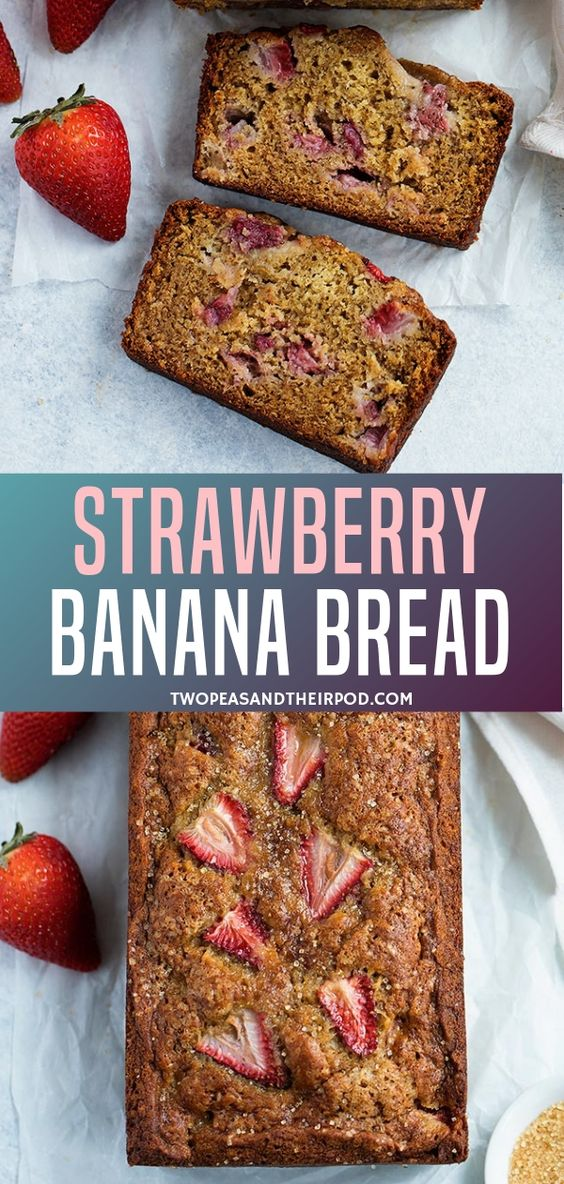 Moist Strawberry Banana Bread bursting with juicy, sweet strawberries! a healthy perfect banana bread recipe for spring and summer when strawberries are in season! Try to make this easy recipe for your breakfast, brunch, an after-school snack, or even dessert.
