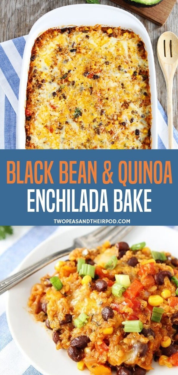 A healthy and delicious meal that will become a staple at your house!  This gluten-free black bean and quinoa enchilada is the answer to your simple dinner nights. They are the perfect enchilada bake for tortilla chips as well! Try making this recipe!