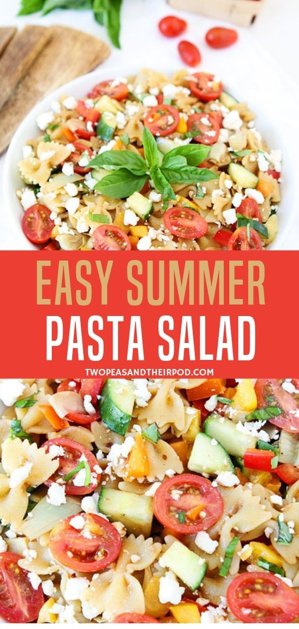 A simple pasta salad recipe that is perfect for all of your summer BB Qs and potlucks! Save this pin to make this summer pasta salad for dinners and lunches fit for a crowd!