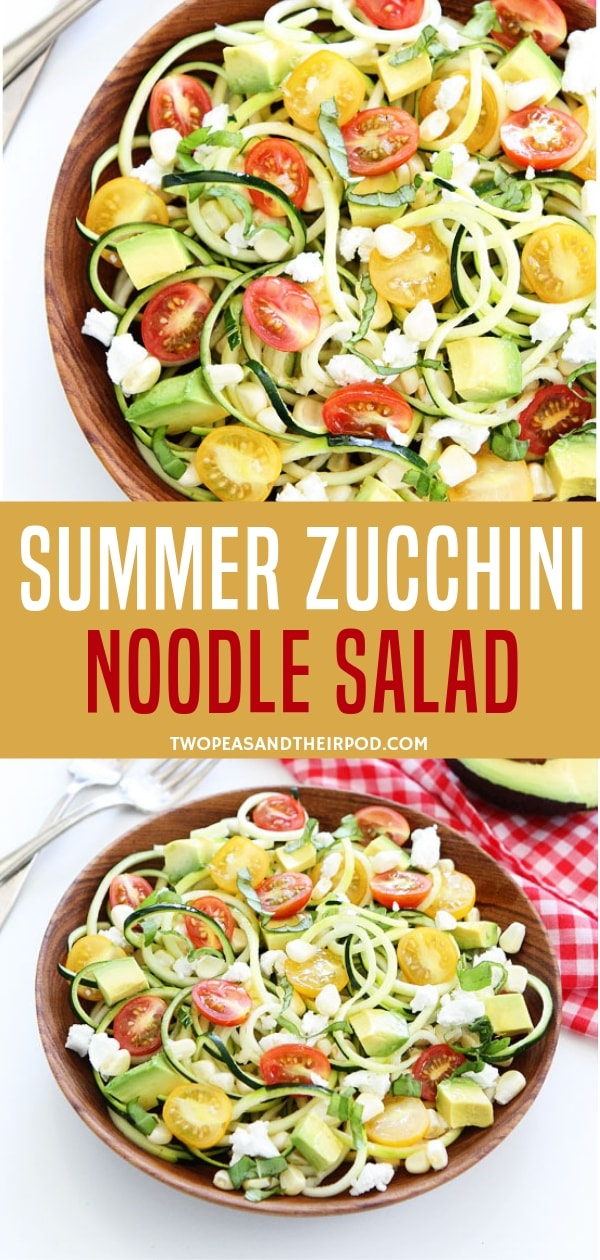 A fresh, simple and healthy zucchini noodle salad for summer! Made with tomatoes, avocado, sweet corn, goat cheese and basil, this zucchini noodles for healthy dinners is the best salad ever! Just drizzle with vinaigrette dressing and serve!