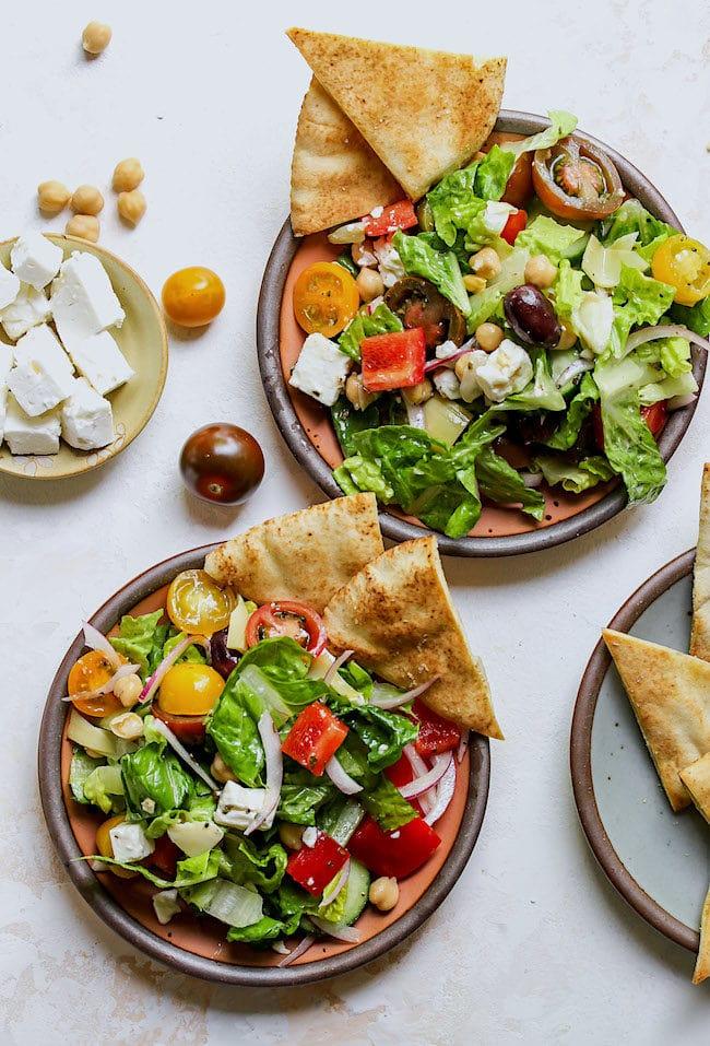 Chopped Greek Salad on plates