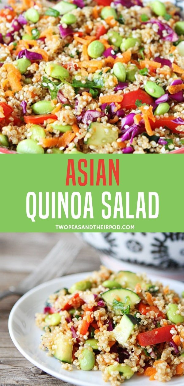 A delicious and healthy salad bowl filled with red cabbage, carrots, cucumber, red pepper, and cilantro. Include this Asian quinoa recipe in your signature dishes for family bondings! Try it with tamari soy sauce to be gluten-free!