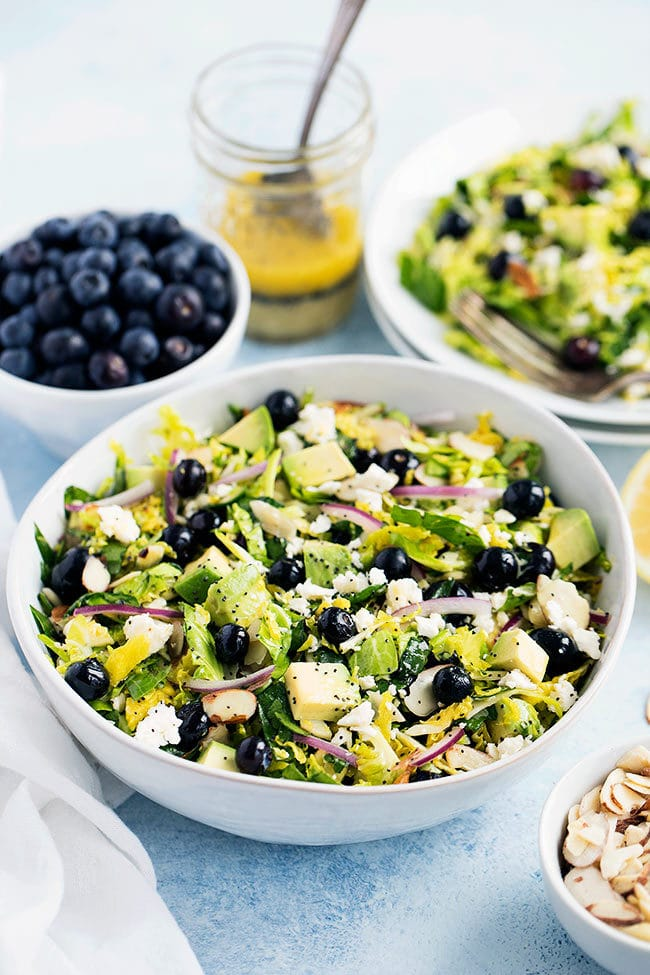 Blueberry Brussels Sprout Salad with Lemon Poppy Seed Dressing